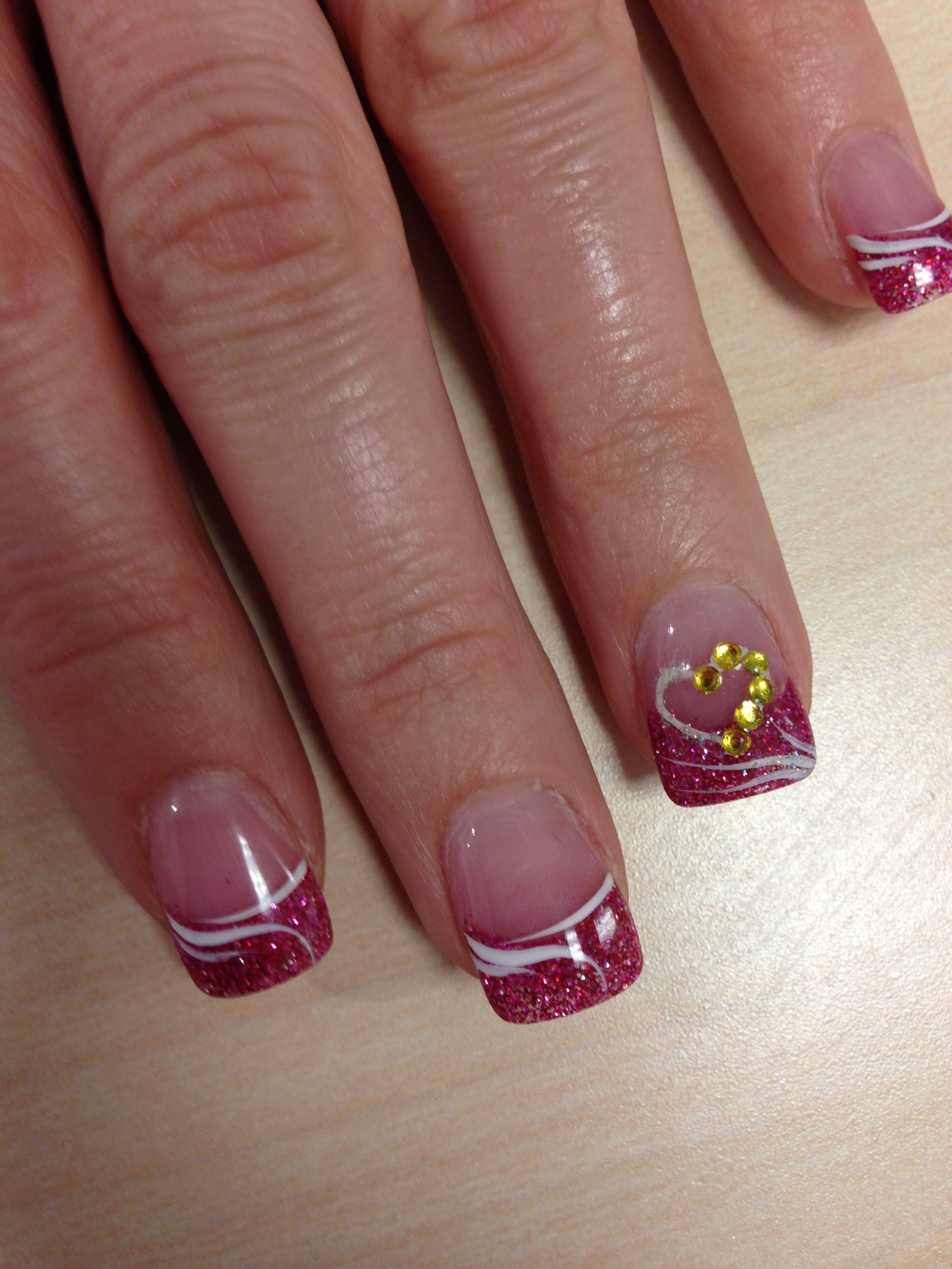 random - french manicure pink glitter and white lines | Nails ...