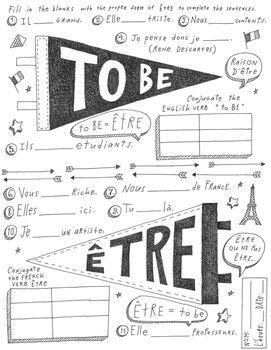 French verb être instant download PDF poster worksheet No