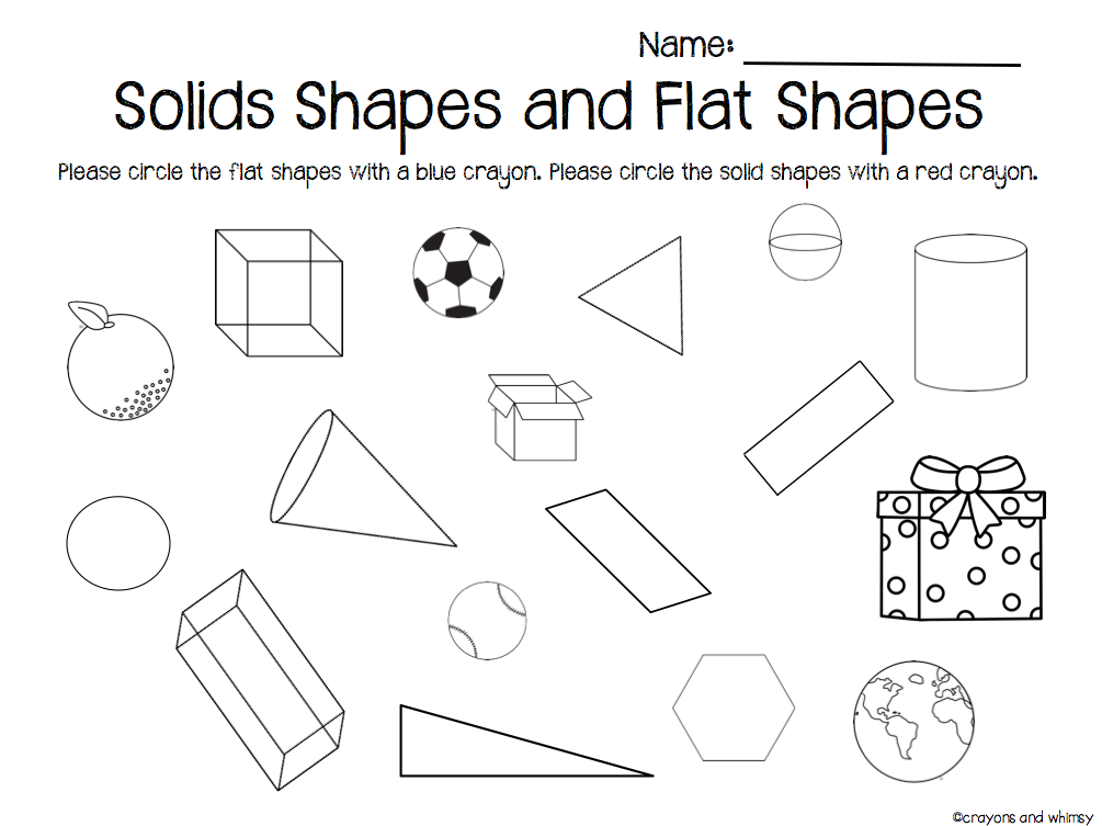 flat and solid shapes kindergarten math geometry | comparing 2d ...