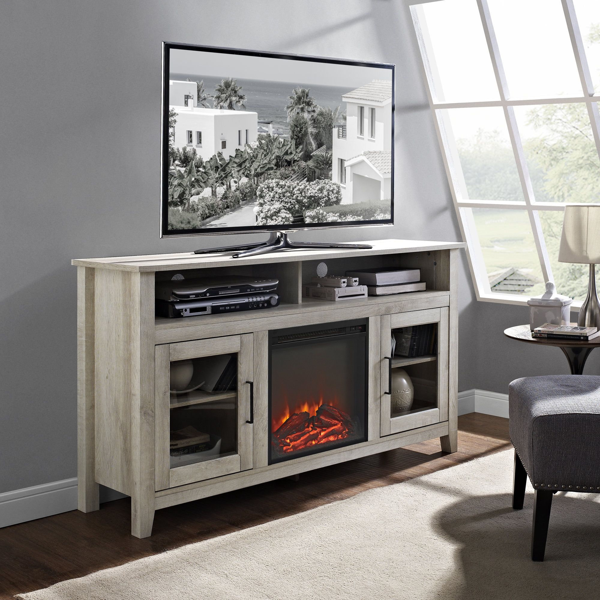 Highboy Tv Stand With Electric Fireplace Fireplace Tv Stand