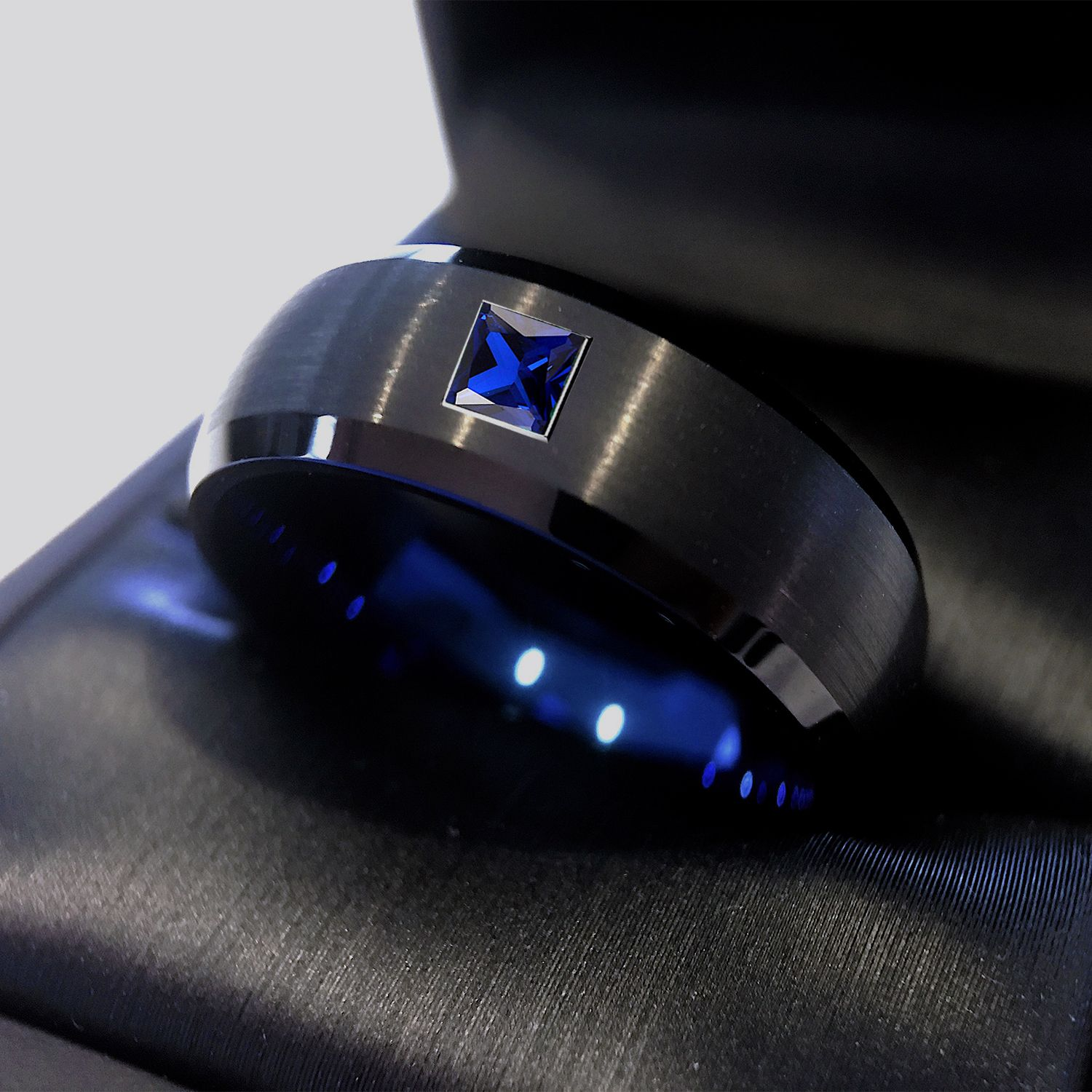 Black and Blue Tungsten Ring with Square Sapphire Stone