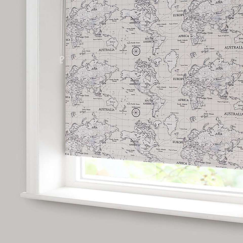 Maps Natural Blackout Roller Blind