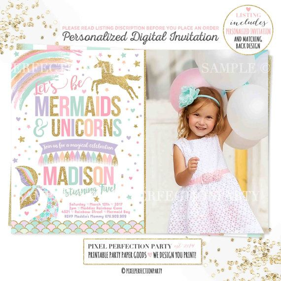 Mermaid And Unicorn Birthday Invitation by PixelPerfectionParty - birthday invitation model