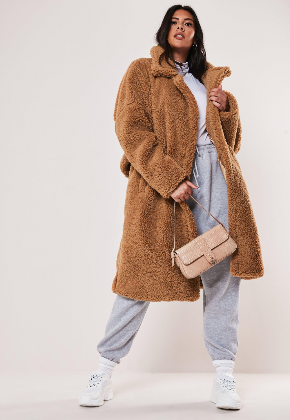 Missguided Plus Size Tan Oversized Long Teddy Coat