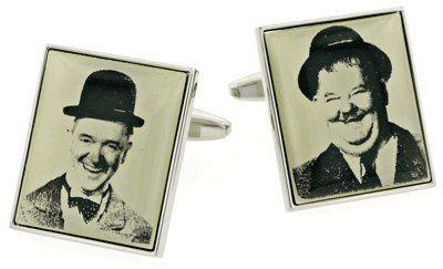 Nostalgic rhodium plated Laurel and Hardy image cufflinks with presentation box
