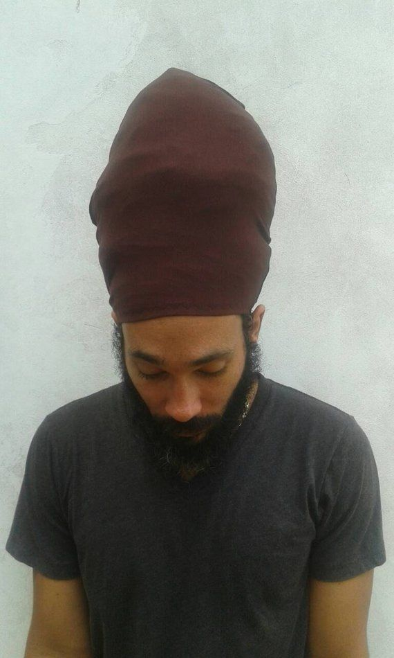 04e8ee116 A BROWN dreadlock stocking cap made from stretchy cotton lycra ...