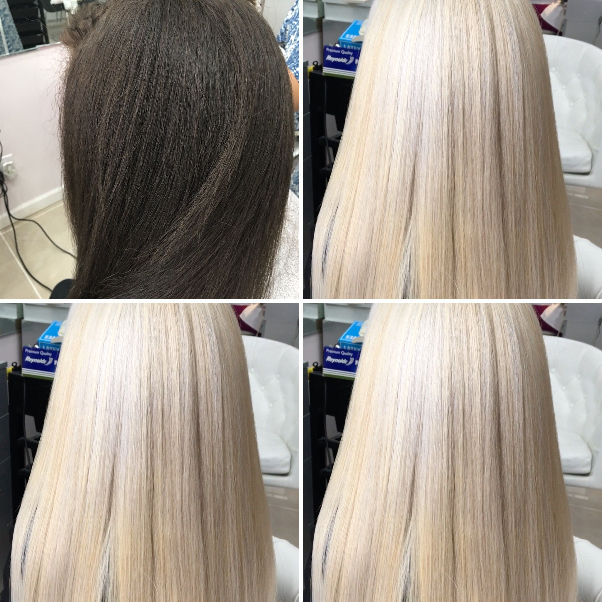 Our Client Had Dark Frizzy Hair Which We Got To Ultra White