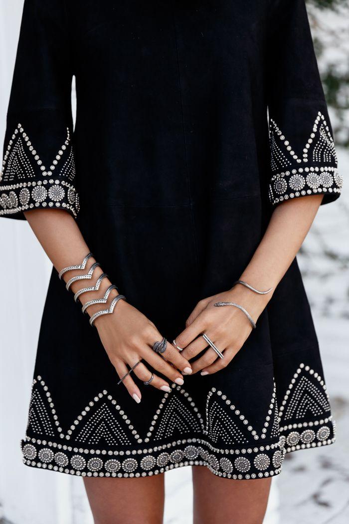 Studded suede dress & silver jewelry