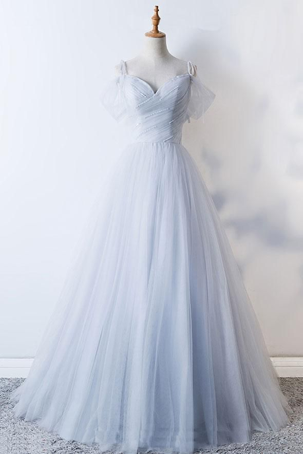 Photo of GRAY SWEETHEART TULLE LONG PROM DRESS, GRAY EVENING DRESS