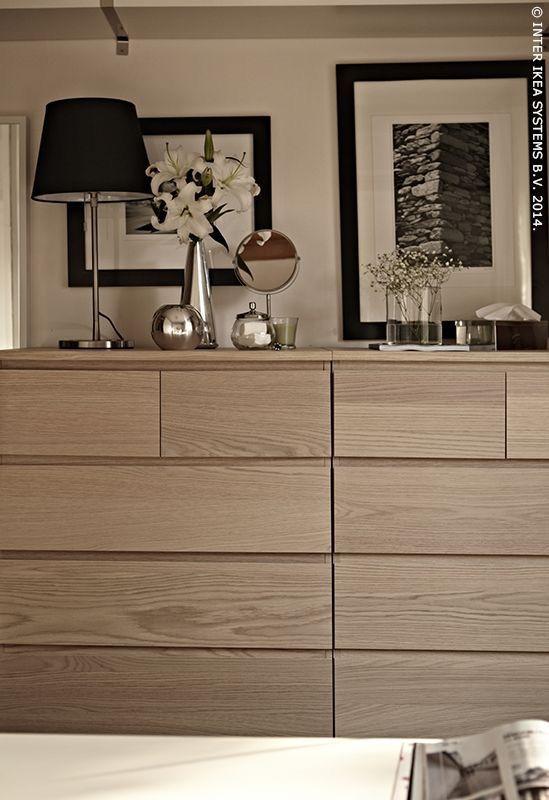 White Oak And Black White Home Furnishings Ikea Malm Dresser
