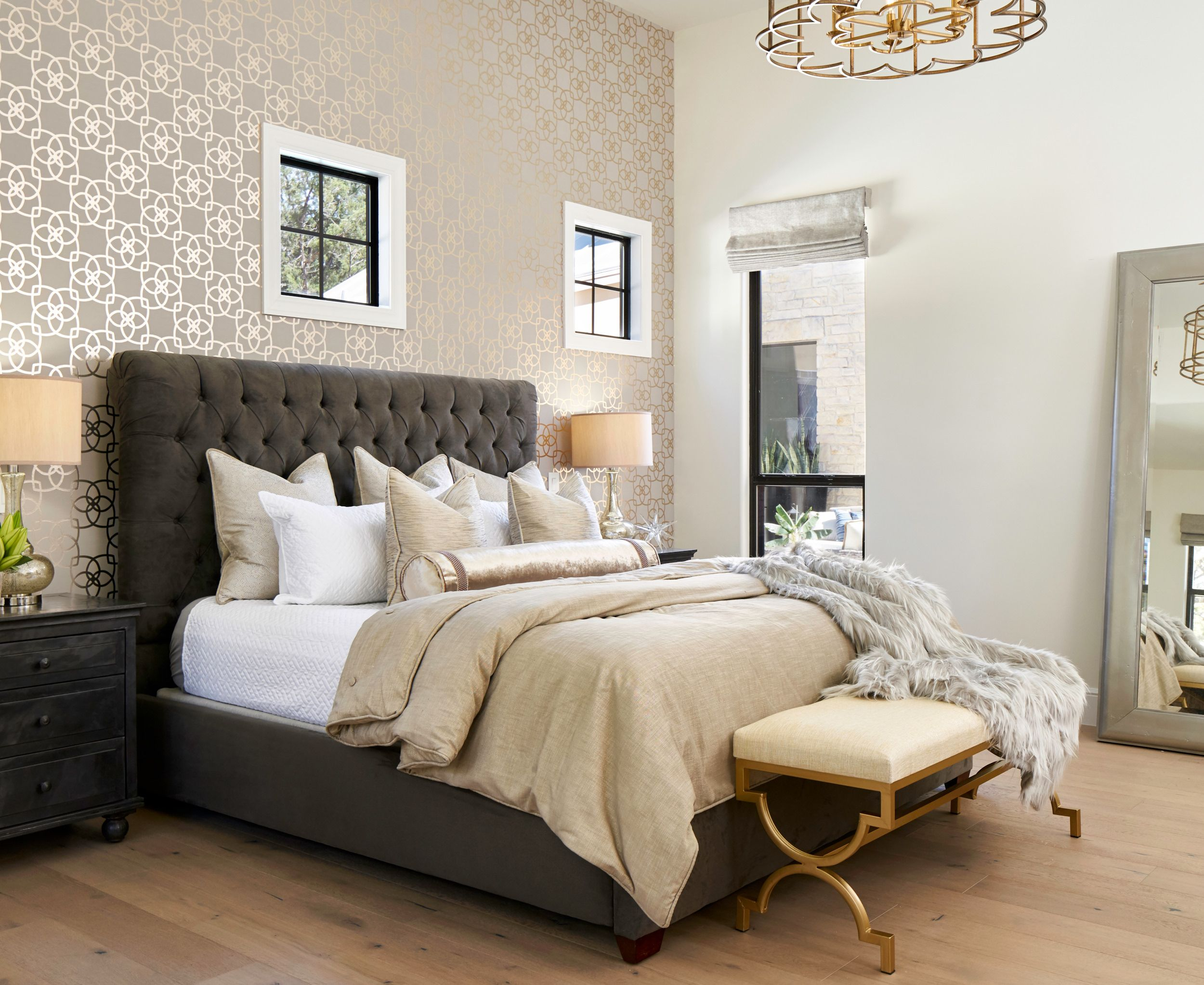 Best Transitional Master Bedroom With Wallpaper Accent Wall And 640 x 480