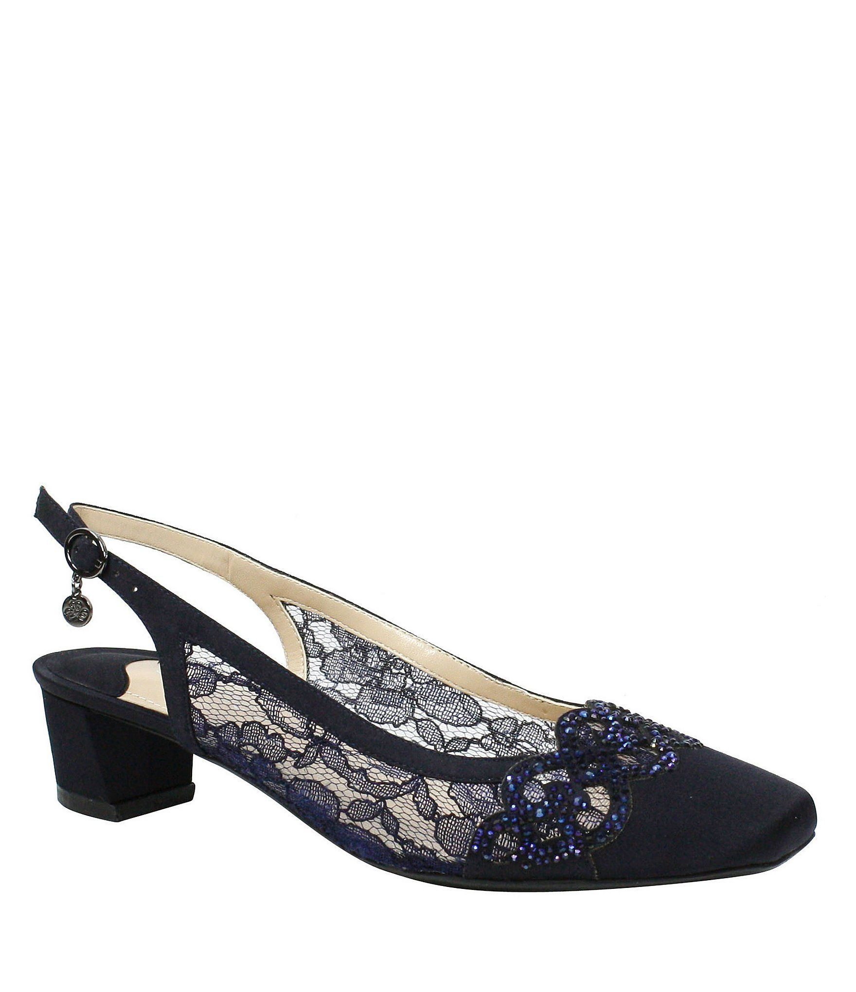 J. Renee Faleece Lace and Satin Slingback Block Heel Pumps 6lKqWRMKI