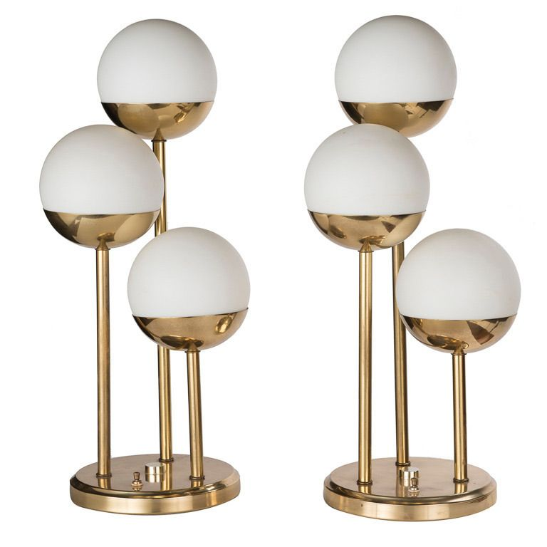 Pair Of Mid Century Modern Italian Brass Tri Globe Lamps | From A Unique