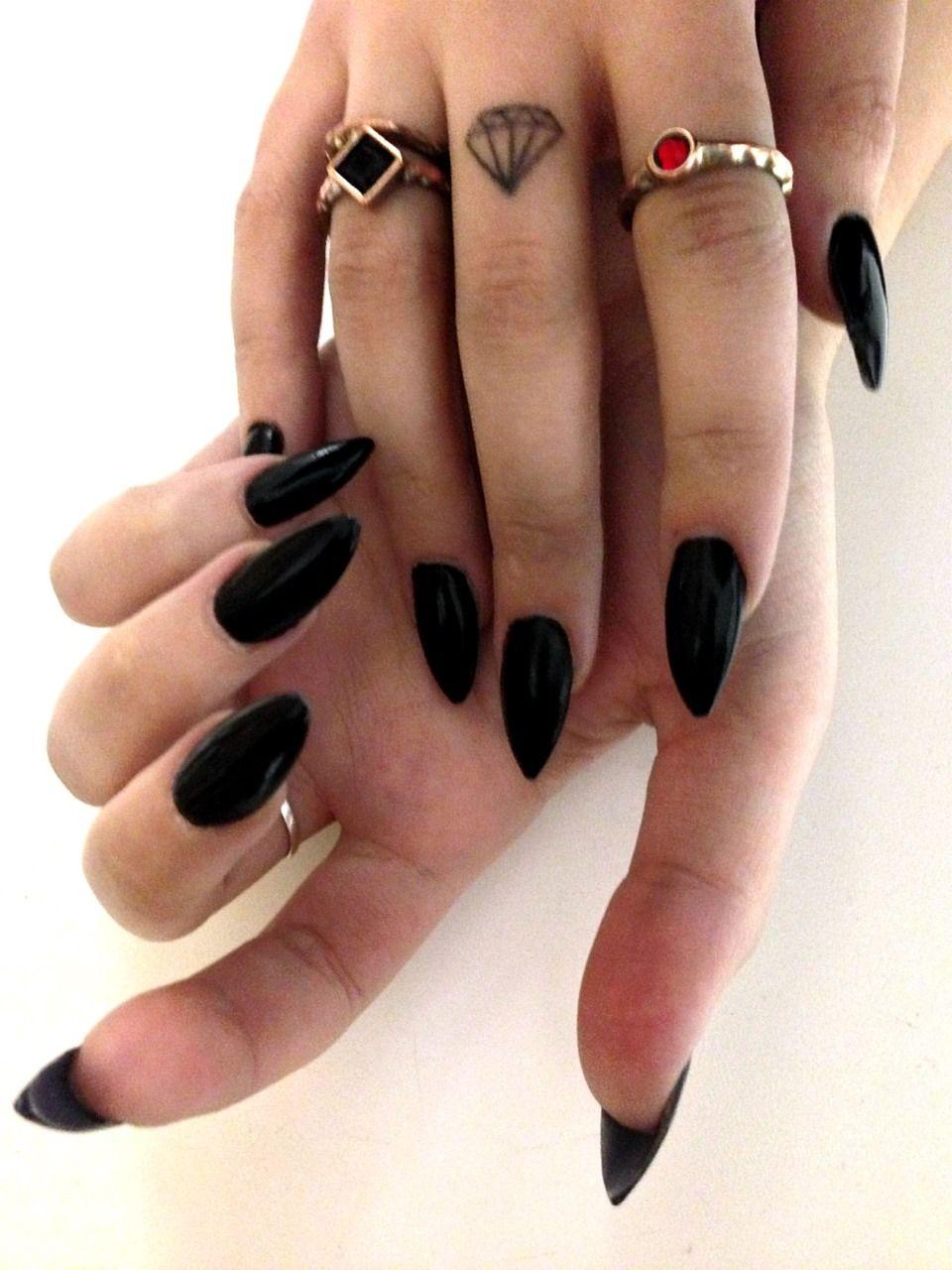 Louboutin Inspired Nails Black Gel Nails Black Acrylic Nails Trendy Nails