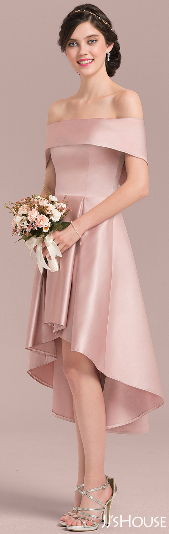 A-Line/Princess Off-the-Shoulder Asymmetrical Satin Bridesmaid Dress ...