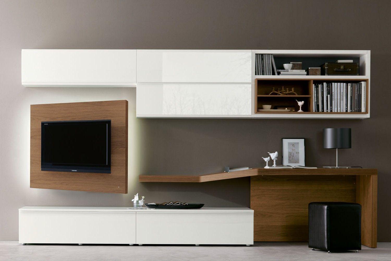 Pareti Attrezzate Con Camino Incorporato parete attrezzata 528 con scrittoio e porta tv orientabile