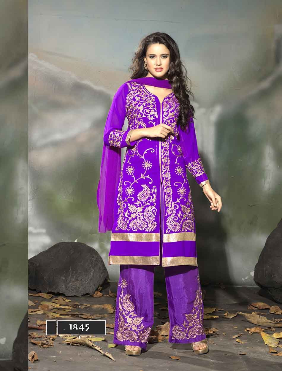 http://www.istyle99.com/Semi-Stitched-Anarkali-Style-Suits/THANKAR-LATEST-EMBROIDERED-DESIGNER-PURPLE-STRAIGHT-SUIT-3347.html LATEST EMBROIDERED DESIGNER PURPLE STRAIGHT SUIT - Rs 1708 BASE COLOUR : PURPLE TOP FABRIC : GEORGETTE TOP COLOUR : PURPLE BOTTOM FABRIC : SANTOON BOTTOM COLOUR : PURPLE DUPATTA FABRIC : NAZNEEN DUPATTA COLOUR : PURPLE INNER FABRIC : SANTOON INNER COLOUR : PURPLE WORK : EMBROIDERY