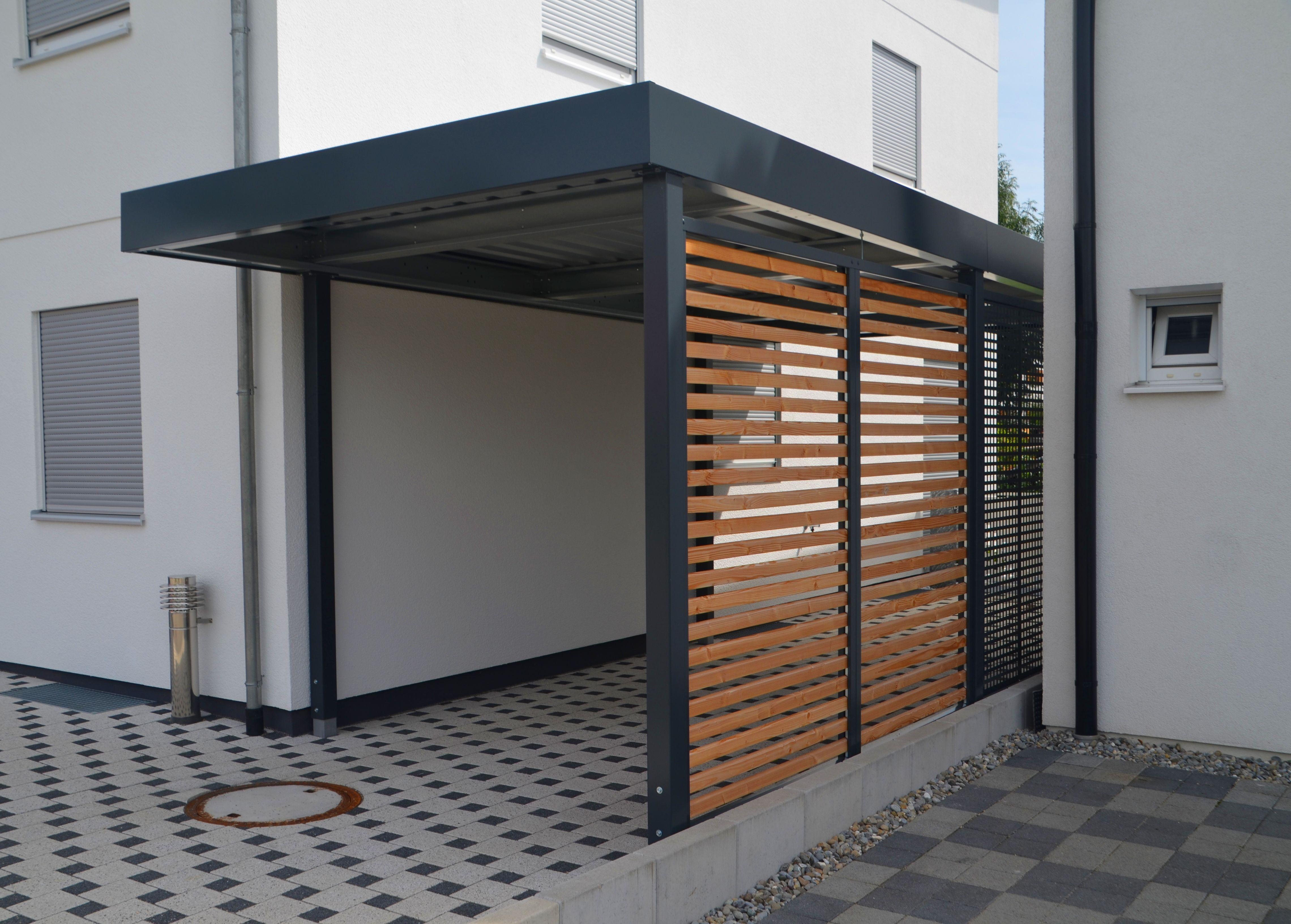 Myport Einzelcarport In Anthrazit Als Massanfertigung Mit Wandelement Holz Offen Und Quadratlochung Carport Carp In 2020 Carport Designs Carport Carport Makeover