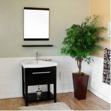 Bath> Vanities: 27.5 in Single sink vanity-Wood-black