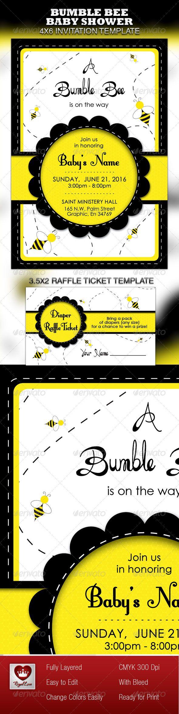Bumble Bee Baby Shower Invitation & Raffle Ticket | Raffle tickets ...