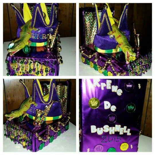 Mardi Gras shoe box float!