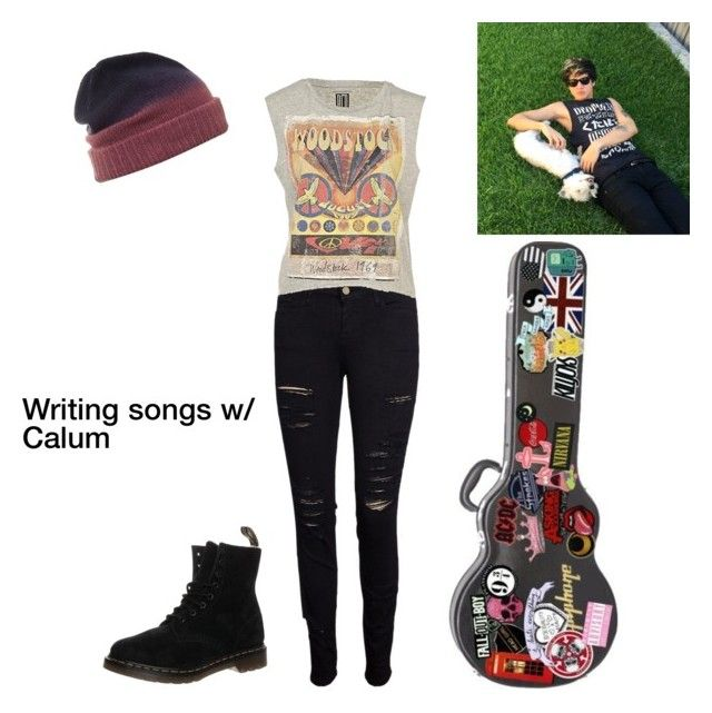 """""""Writing w/ Calum"""" by tashgriffi ❤ liked on Polyvore featuring Frame Denim and Dr. Martens"""