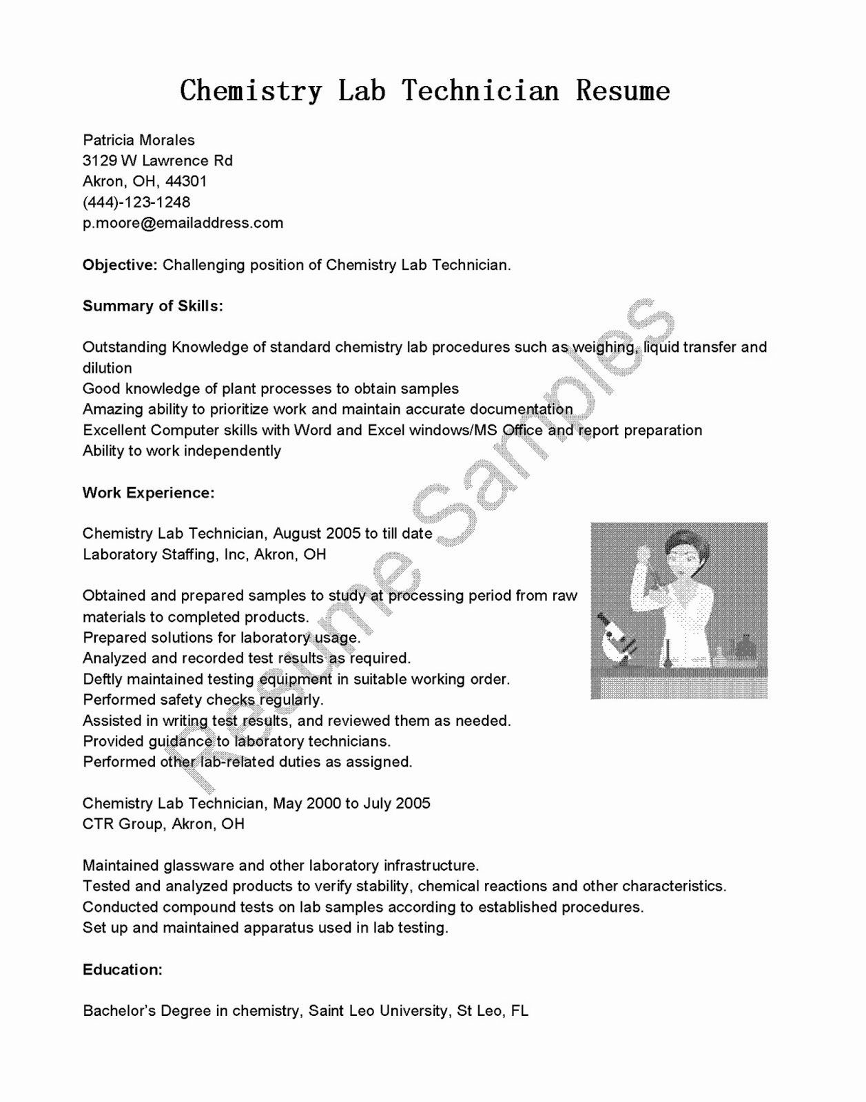 Lab Technician Cover Letter Best Of Cover Letter Chemical Lab Technician Longislandyoga Resume Objective Examples Chemistry Labs Good Resume Examples