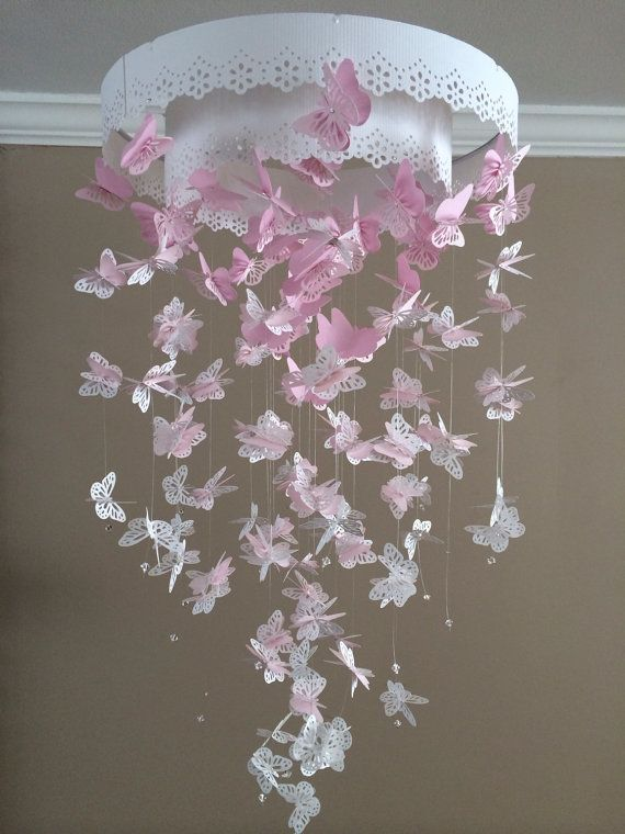 butterfly mobile baby lace pink mix size monacrh mobile girl room mobile nursery mobile 3d. Black Bedroom Furniture Sets. Home Design Ideas