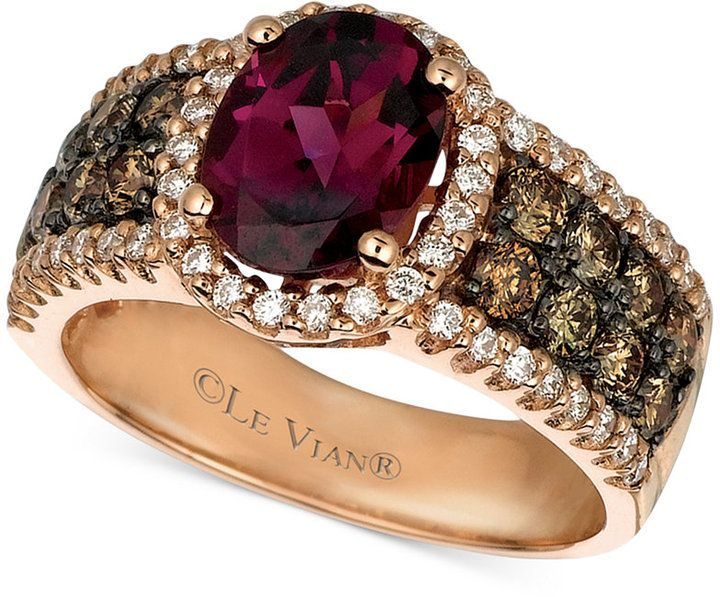 Le Vian Raspberry Rhodolite Garnet (1-7/8 ct. Chocolate Diamond (3/4 ct. t.w.) and White Diamond (3/8 ct. t.w.) Oval in 14k Rose Gold