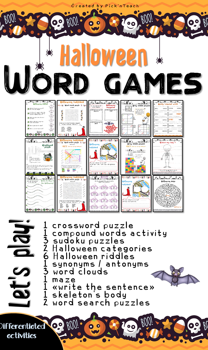Halloween WORD GAMES Print and go Play and learn