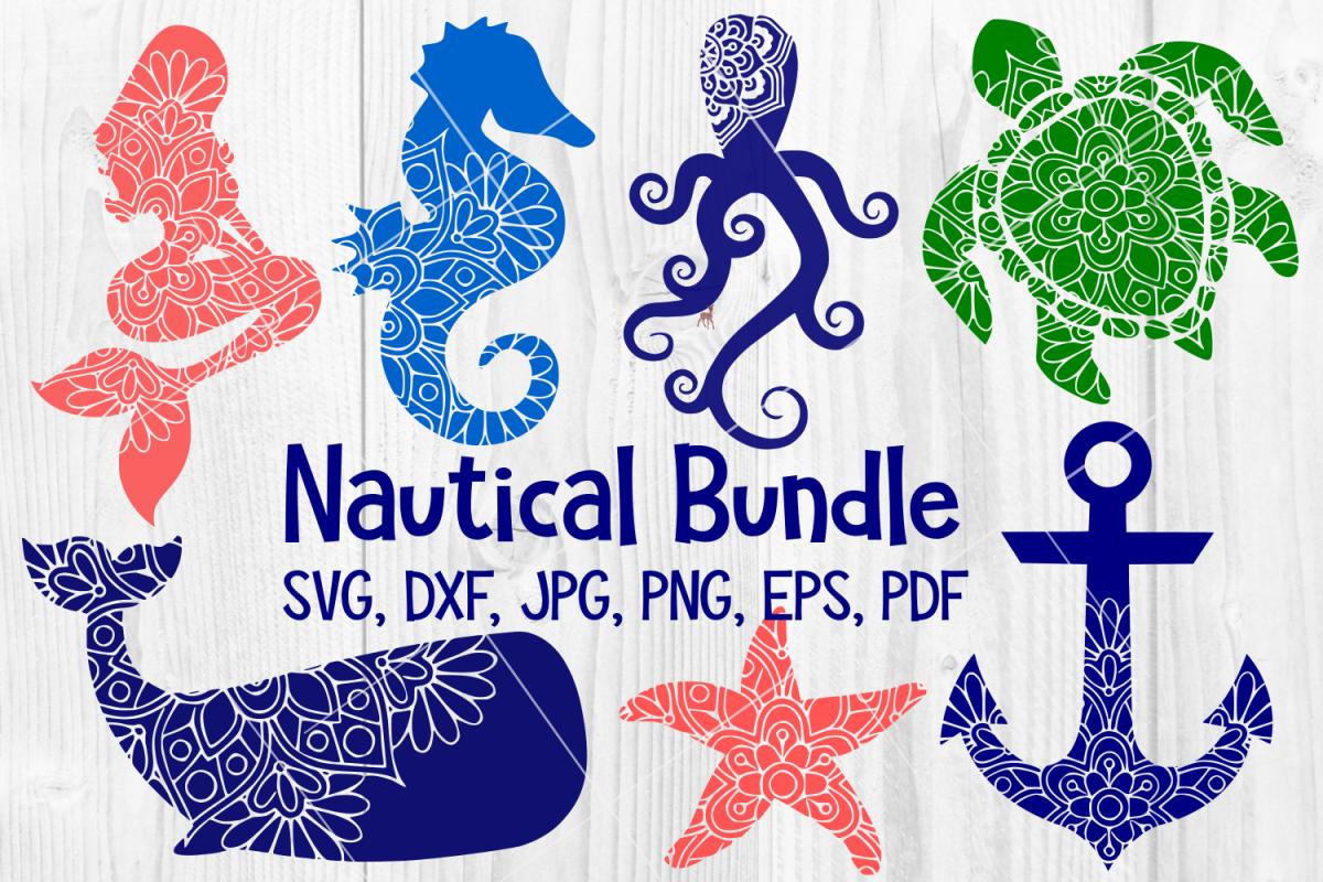 Nautical Mandala Bundle, Whale, Mermaid, Turtle, Starfish