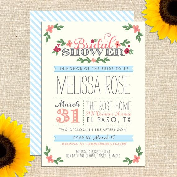 Whimsy Bridal Shower Invitation DIY by YellowBrickGraphics on Etsy, $20.00