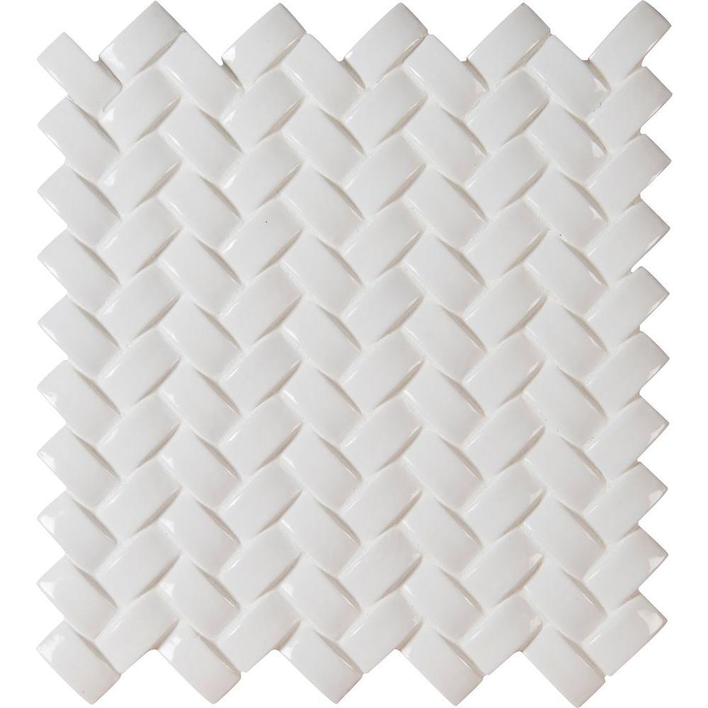 Msi Whisper White Arched Herringbone 12 In X 12 In X 8 Mm Glossy Ceramic Mesh Mounted Mosaic Wall Tile 1 Sq Ft Pt Ww Ahb The Home Depot Mosaic Wall Tiles Herringbone Mosaic