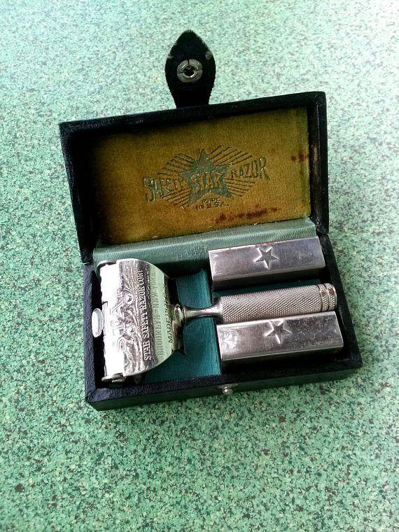 Vintage 1910s Shaving Kit Star Safety Razor Lather Catcher