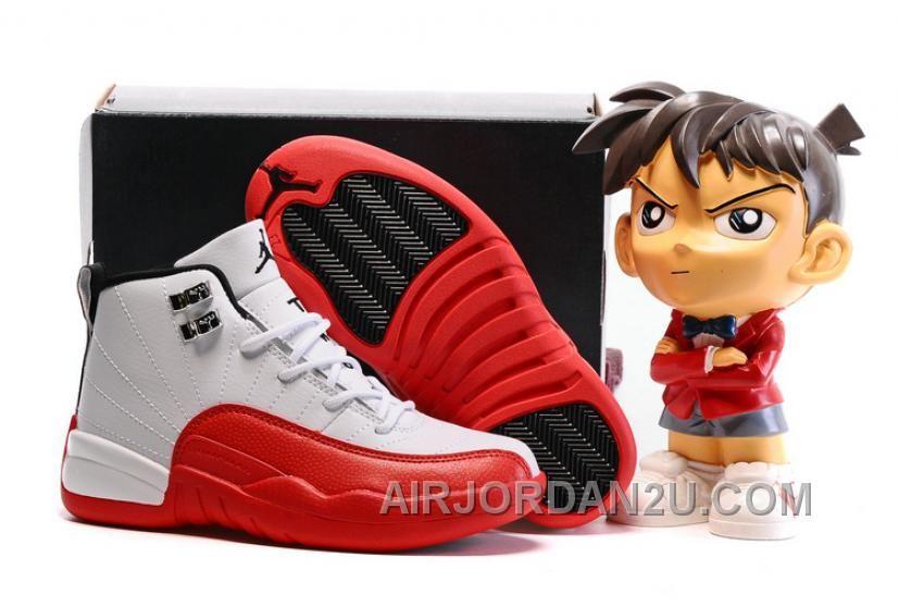 "8a8dd9699d3770 Find Quality Kids Air Jordan 12 ""Cherry"" White Gym Red-Dark Grey-Metallic  Silver ..."