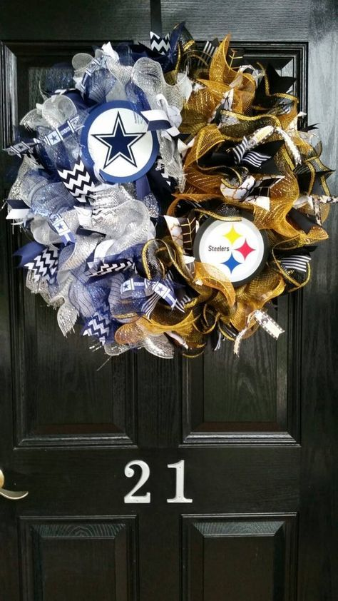 Photo of Large House Divided Mesh Burlap Ribbon Wreath Dallas Cowboys Pittsburgh Steelers Team Football Black Yellow Gold Blue White Silver