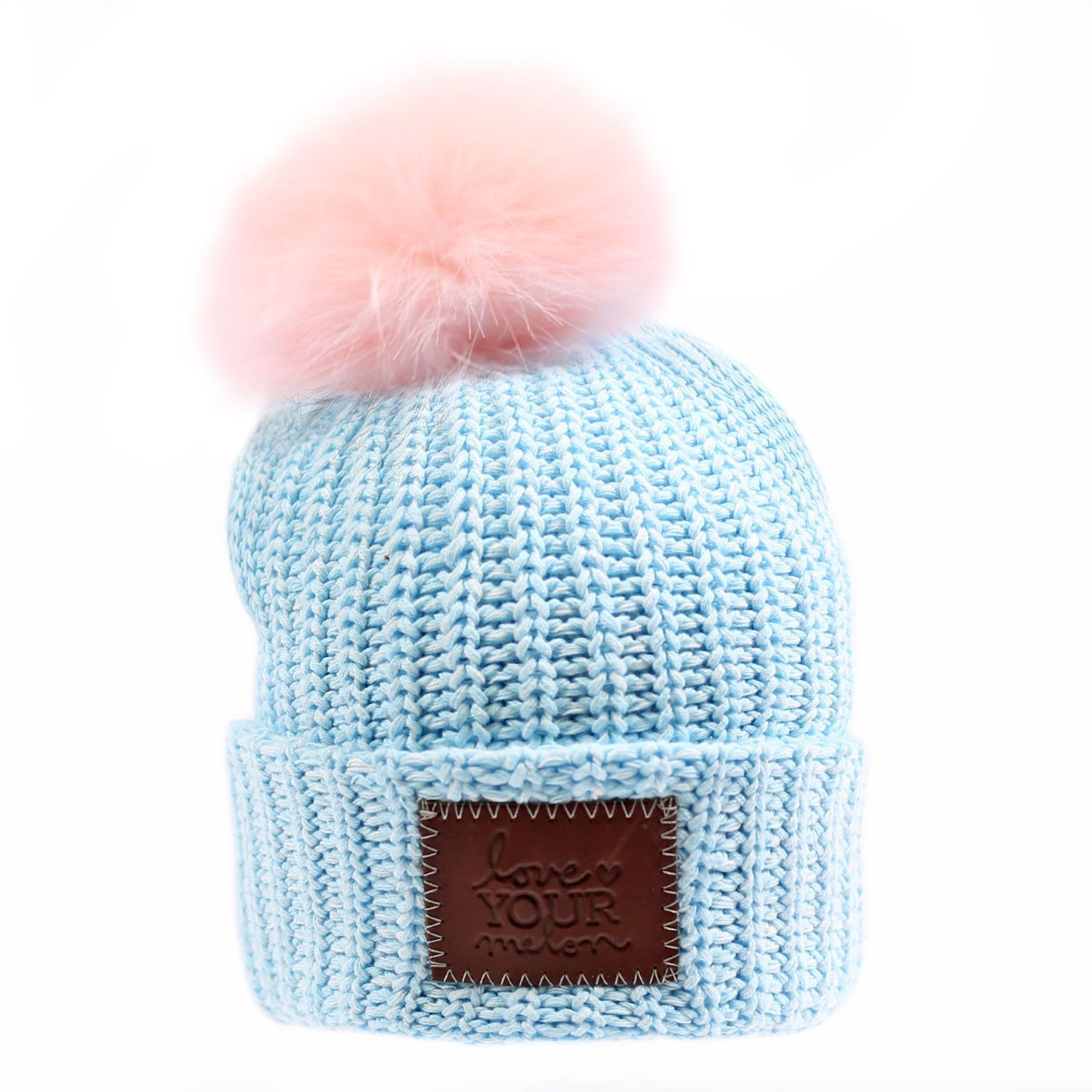 86eaa9bb62f Baby Blue and White Speckled Pom Beanie (Light Pink Pom) – Love Your Melon