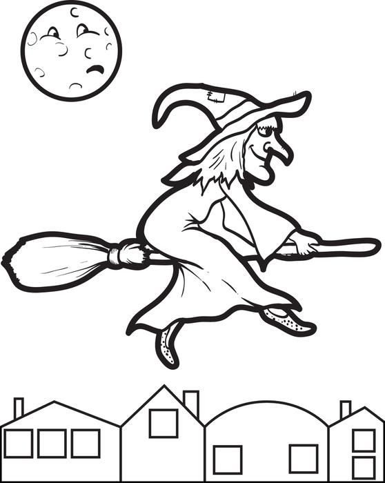 witch coloring page 7 - Witch Coloring Page