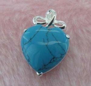 GEM023-Turquoise Heart shaped sterling silver gemstone pendant