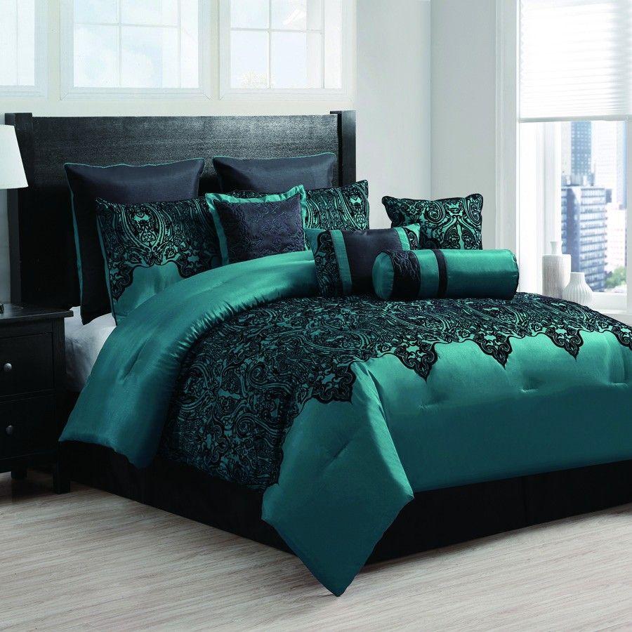 Mischa Teal 10 Piece Embroidered Comforter Set 200 00 Comforter