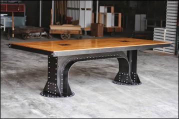 """The Bridge"" Table  Solid Oak w/ clear finish and Steel edge. Custom made - Spyker.net"