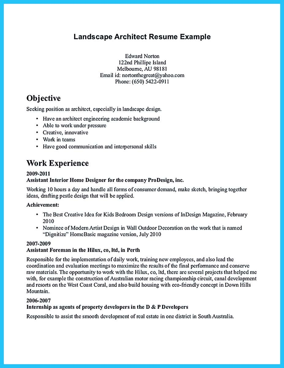 if you are an architect and you want to make a proposal for your job - Sample Architect Resume