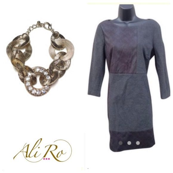 """HP Ali Ro Mixed Media Dress HAUTE mixed media dress, lined 35"""" long , 19"""" pit , viscose, nylon, spandex, faux leather look. Back zip. Beautiful grey and black colors. Note: Zipper need to be replaced. Price reflects flaw. See website at the top of my closet for fabulous jewelry. Ali Ro Dresses"""