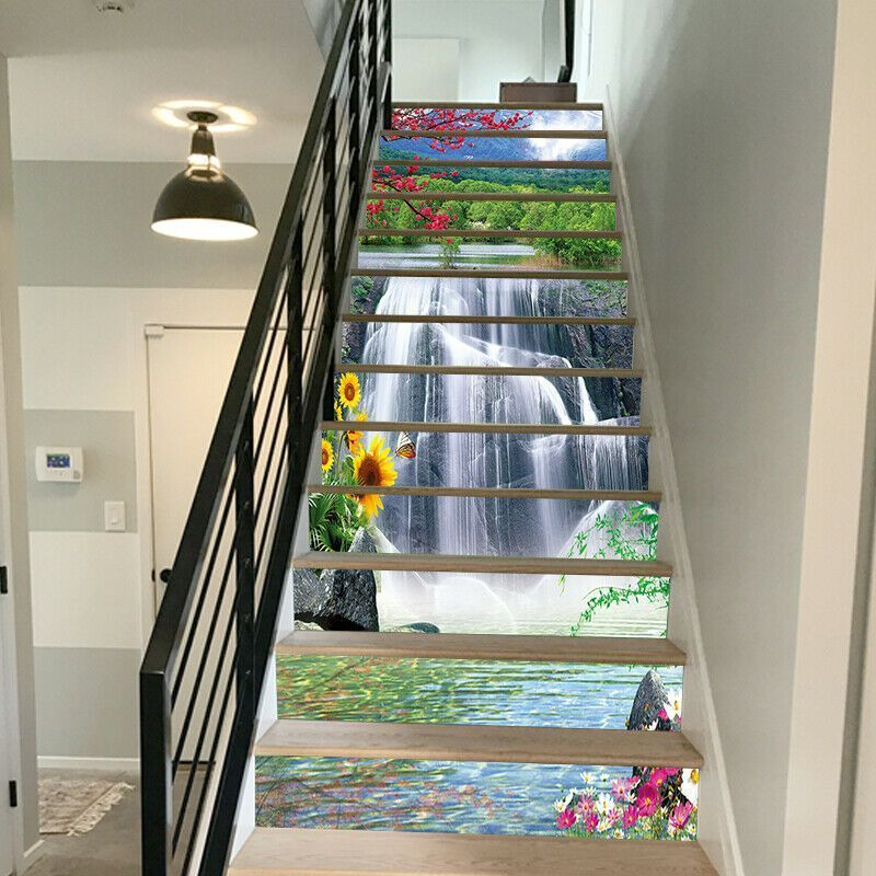 3d Self Adhesive Waterfall Flowers Stair Stickers 3d Self Adhesive Waterfall Flowers Stair Stickers Staircase Wallpaper Ideas Stair Wall Decorating Ideas Hom