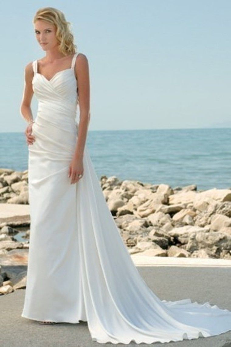 Charming Column Spaghetti Straps Backless Summer Beach Wedding Dress ...