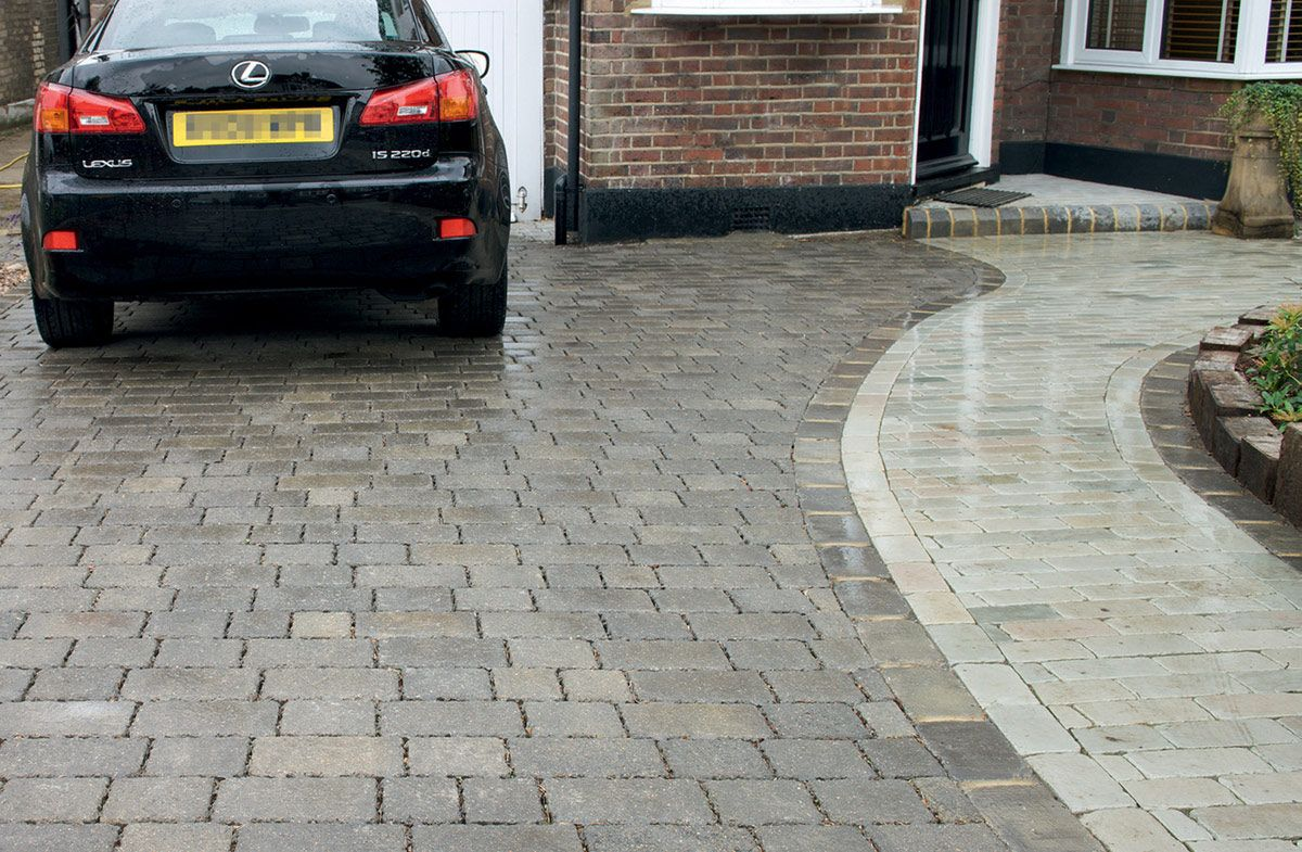 Contemporary with front steps gray brick driveway gray brick driveway - Pervious Pavement And Cobblestone Edge Driveway Google Search