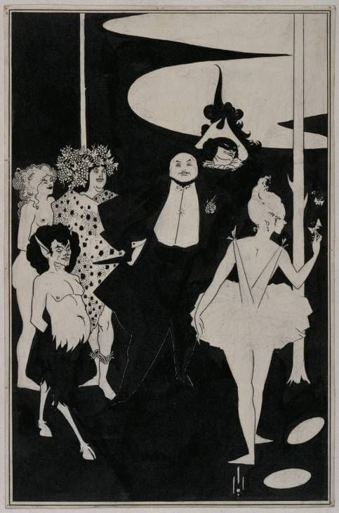 Aubrey Beardsley - Design for the Frontispiece to John Davidson's Plays 1894  This does not apparently show a scene a play, but is instead a series of caricatures of notable figures of the day: the cloaked figure is Sir Augustus Harris, manager of the Covent Garden, Drury Lane & Her Majestys theatres. Oscar Wilde is portrayed as Bacchus, the nude woman is Beardsley's sister Mabel. faun is Henry Harland, editor of Yellow Book, masked figure is poet Richard Le Gallienne, ballerina is Adeline…