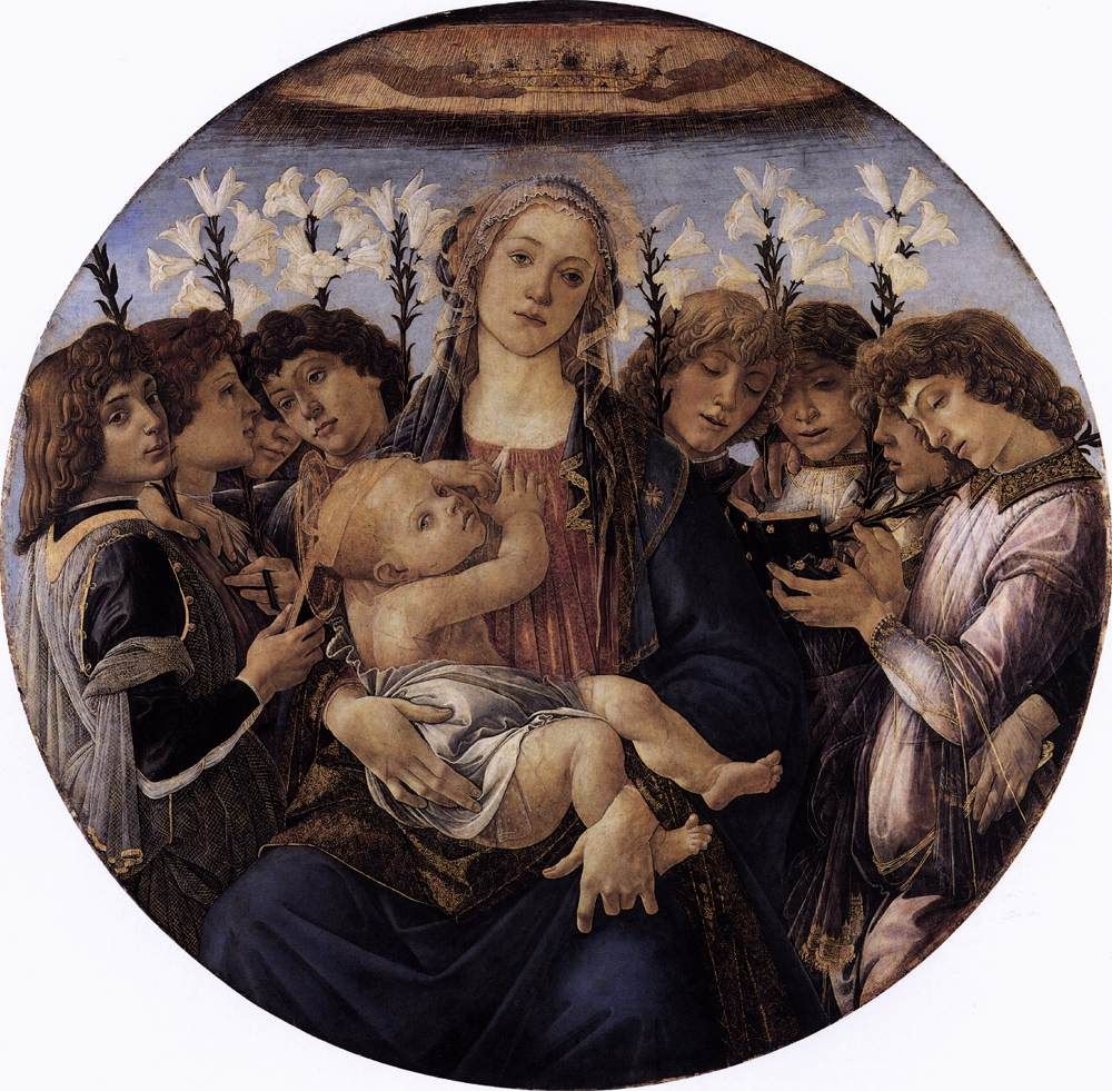 SANDRO BOTTICELLI ( 1445 - 1510) - Madonna and Child with Siinging Angels. - Gemäldegalerie Staatliche Museen, Berlin.