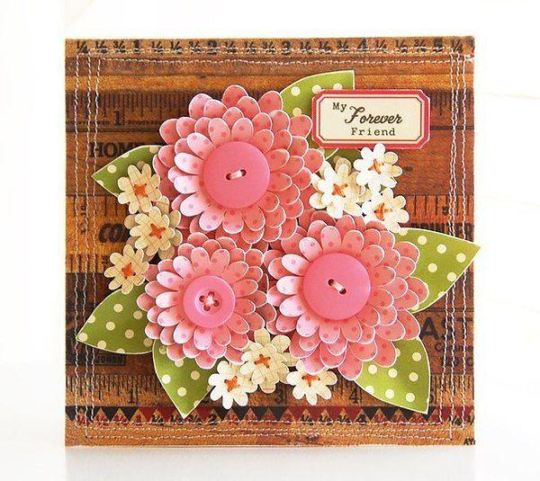 Год рождество, открытки с бумажными цветами с своими руками