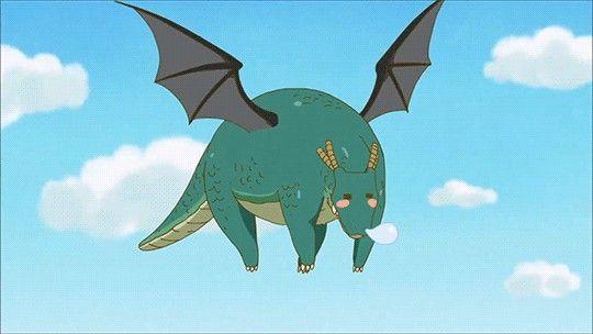 Tohru, Dragon form, flying, cute, blushing, sleeping; Kobayashi ...